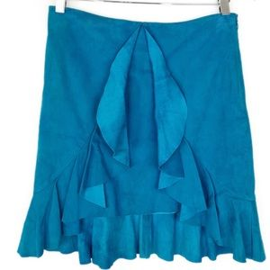 Cache Goat Suede Leather Flutter Ruffle Skirt